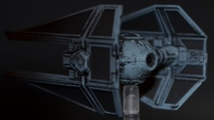 Auch von schrg hinten macht der TIE Advanced eine gute Figur