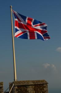 Der Union Jack weht über Dover Castle ... Zu dem Zeitpunkt war nochnicht klar, ob der schottische Anteil an der Flagge nicht bald würde entfernt werden müssen!