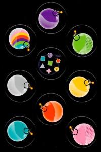 Die Farbseite der Bubble Bomb Pappplättchen