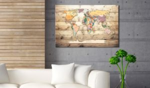 Wanddeko von Bimango:Weltkarte auf Leinwand